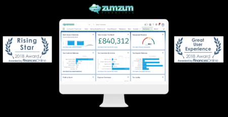 Zumzum Financials, SMB Accounting for Salesforce wins 2018 Great User Experience Award and 2018 Rising Star Award from FinancesOnline
